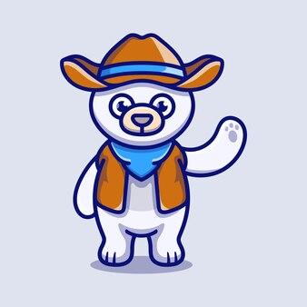 Cute polar bear illustration wearing cowboy clothes