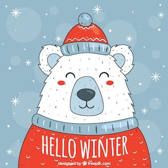 Симпатичный белый медведь в шляпе и свитере