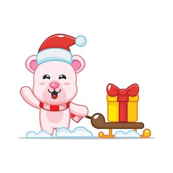 Милый полярный медведь в рождественский день с подарком милая рождественская карикатура