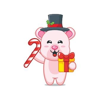 Милый белый медведь в рождественский день с рождественским подарком и конфетами