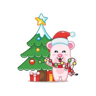 Милый белый медведь в рождественский день держит рождественскую лампу