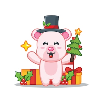 Милый белый медведь в рождественский день держит елку и звезду