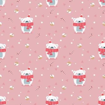クリスマス冬のテーマのシームレスなパターンでかわいいホッキョクグマ