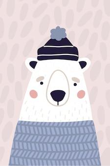 帽子とセーターでかわいいシロクマ。パステルカラーの垂直グリーティングカード。漫画のスタイルのポストカードのカラフルなベクトルイラスト。