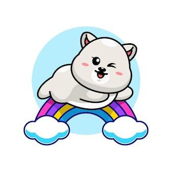 무지개 만화 점프 귀여운 북극곰