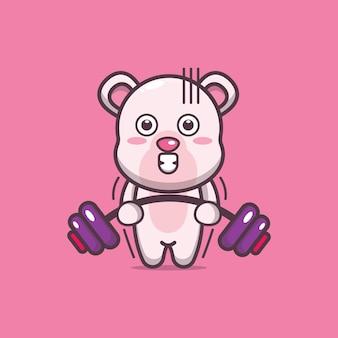 귀여운 북극곰 리프팅 바벨 만화 벡터 일러스트 레이션