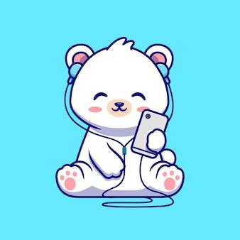 귀여운 북극곰 듣기 음악 만화 벡터 아이콘 그림입니다. 동물 기술 아이콘 개념 절연 프리미엄 벡터입니다. 플랫 만화 스타일