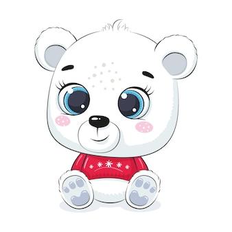 Милый полярный медведь. с рождеством христовым дизайн.