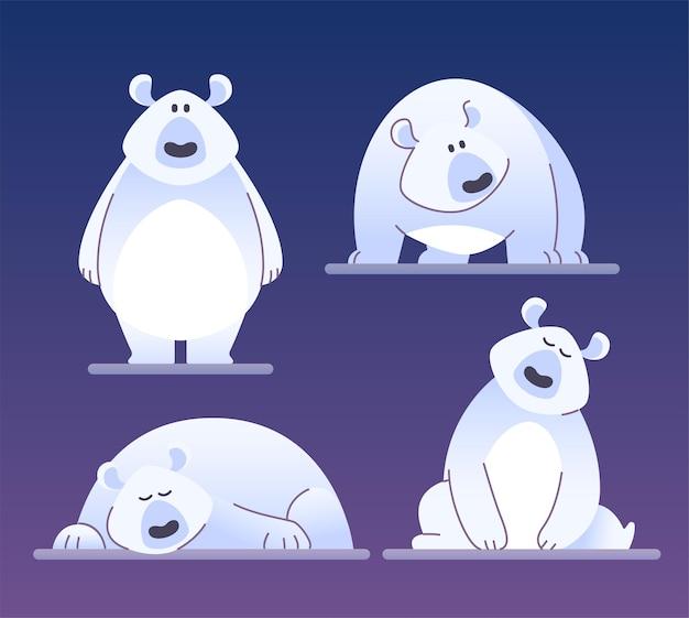 Милый полярный медведь - современные векторные иллюстрации персонажей мультфильмов, изолированные на синем фоне. разные эмоции и позы забавного животного. можно использовать как смайлики, набор смайликов высокого качества