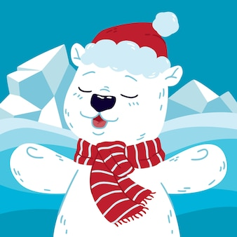 Cute polar bear at the north with santa claus hat and scarf.