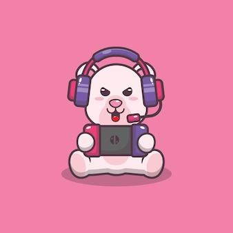 Cute polar bear palying a game cartoon vector illustration