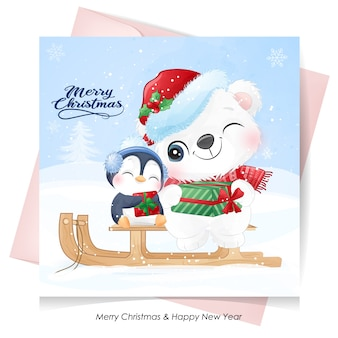 Cute  polar bear and penguin for christmas day with watercolor card