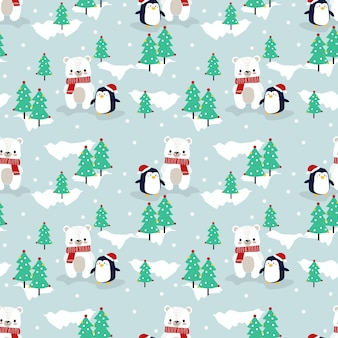 Cute polar bear and penguin in christmas season seamless pattern