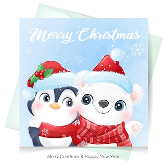 Cute  polar bear and penguin for christmas with watercolor card