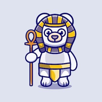 Милый полярный медведь-фараон с палкой
