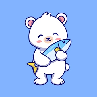 Cute polar bear playing in box cartoon vector icon illustration. animal nature icon concept isolated premium vector. flat cartoon style
