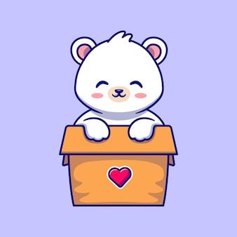 Милый белый медведь играет в коробке мультфильм вектор значок иллюстрации. концепция животного природы значок изолированные premium векторы. плоский мультяшном стиле