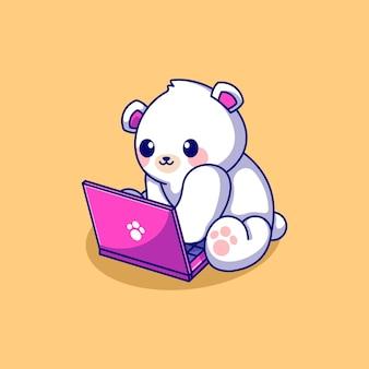 Милый белый медведь играет на ноутбуке