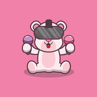 Cute polar bear playing virtual reality game cartoon vector illustration