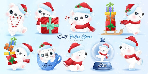 Cute  polar bear set for christmas day with watercolor illustration