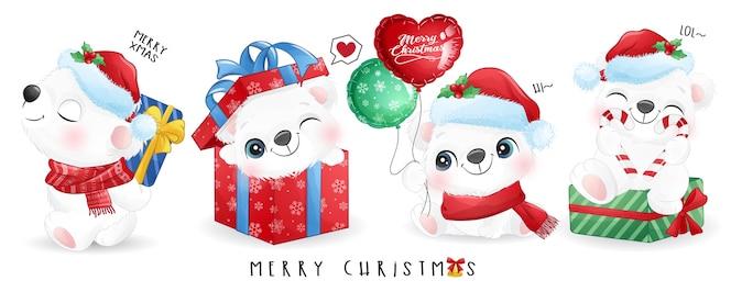 かわいいシロクマが水彩のバナーでクリスマスの日に設定