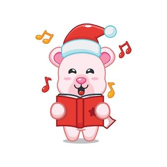 Милый белый медведь поет рождественскую песню милая рождественская карикатура