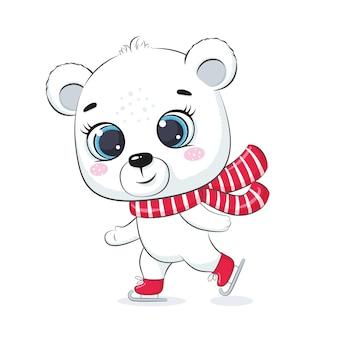 かわいいシロクマが氷の上でスケートします。メリークリスマスデザイン。