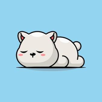 귀여운 북극곰 잠자는 만화