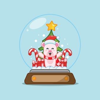 Cute polar bear in snow globe cute christmas cartoon illustration