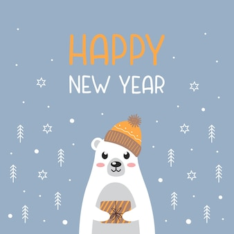 Cute polar bear in warm hat with new year gift and text happy new year