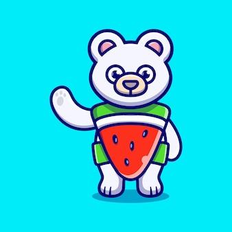 Cute polar bear wear costume watermelon