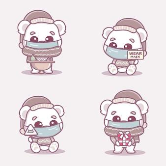 Милый белый медведь носит медицинскую маску, моет руки и использует дезинфицирующее средство для рук, защищающее от коронавируса covid-1. новая нормальная рождественская концепция