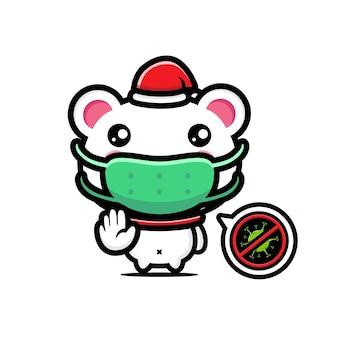 Милый белый медведь в маске с позой стоп-вируса