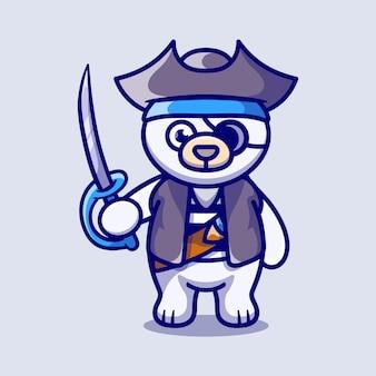 海賊のハロウィーンの衣装を着てかわいいホッキョクグマ