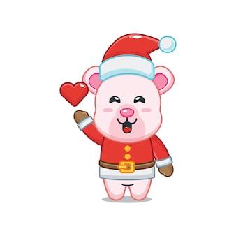 Cute polar bear wearing santa costume in christmas day cute christmas cartoon illustration