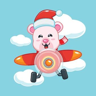Милый белый медведь в шляпе санта-клауса летает с самолетом в рождественский день