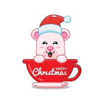 Милый белый медведь в шапке санта-клауса в чашке милая рождественская карикатура