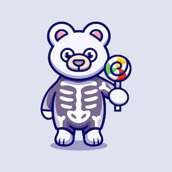 Cute polar bear wearing skeleton halloween costume and carrying lollipop