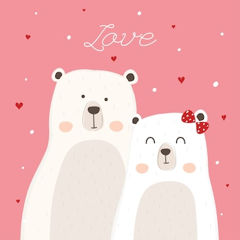 Cute polar bear for wedding invitation.