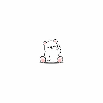 Cute polar bear winking eye cartoon icon