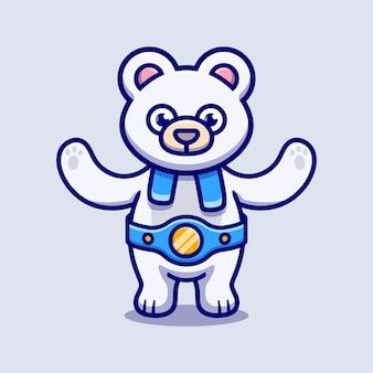 귀여운 북극곰이 복싱 경기에서 승리했습니다.