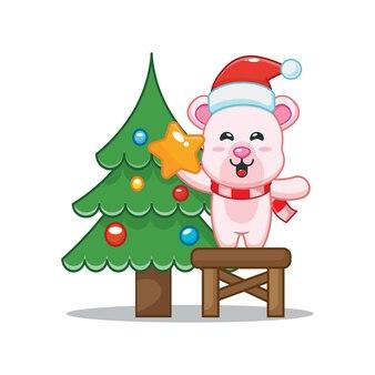 Cute polar bear with christmas tree in christmas day cute christmas cartoon illustration