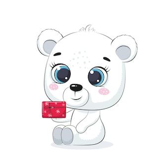 Cute polar bear with gift