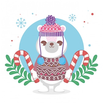 Cute polar bear with hat and sweater merry christmas