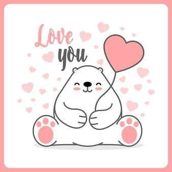 Cute polar bear with heart balloon