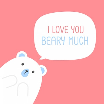 Cute polar bear with a heart is saying i love you beary much,valentine's day