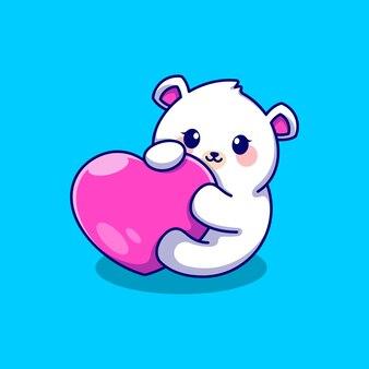 Милый полярный медведь с любовным сердечком
