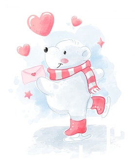 Cute polar bear with love letter skating illustration
