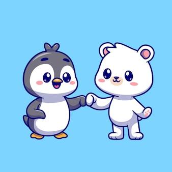 Милый белый медведь с пингвином мультфильм вектор значок иллюстрации. концепция животного природы значок изолированные premium векторы. плоский мультяшном стиле