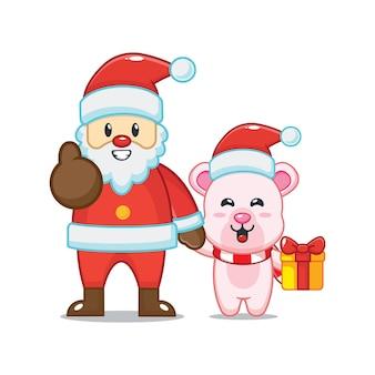 Cute polar bear with santa claus in christmas day cute christmas cartoon illustration
